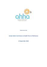 AHHA Submission to the Senate Select Committee on Health Terms of Reference