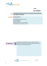 Deeble Issues Brief No. 25: Improving pharmacist involvement in pandemic influenza planning and response in Australia
