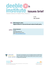 Deeble Issues Brief No. 33: Reforming for Value: Opportunities for Outcome Focused National Health Policy