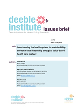 Deeble Issues Brief No. 41: Transforming the health system for sustainability