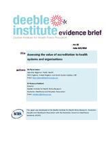 Evidence Brief No. 18 - Assessing the Value of Accreditation to Health Systems and Organisations