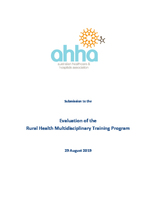 AHHA Submission to the evaluation of the Rural Health Multidisciplinary Training Program