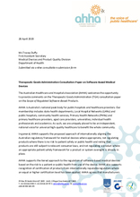 AHHA Submission – Therapeutic Goods Administration Consultation Paper on the Scope of Regulated Software‑Based Products