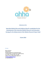 Strategies for the Medical Research Future Fund - AHHA submission to the Australian Medical Research Advisory Board