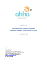 AHHA Submission to the Senate Economics Legislation Committee inquiry into the provisions of the Budget Savings (Omnibus) Bill 2