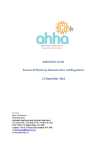 AHHA Submission to the Review of Pharmacy Remuneration and Regulation