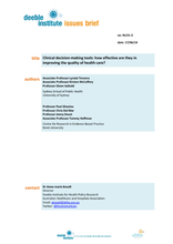 Clinical decision-making tools: how effective are they in improving the quality of health care?