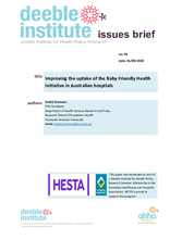 Deeble Issues Brief No 39: Improving the uptake of the BFHI in Australian hospitals
