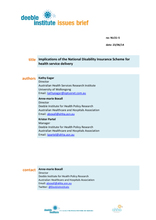 Implications of the National Disability Insurance Scheme for health service delivery