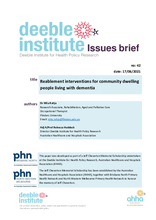 Deeble Issues Brief No. 42: Reablement interventions for community dwelling people living with dementia