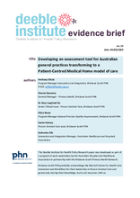 Evidence Brief No. 19 - Developing an assessment tool for Australian general practices transforming to a Patient-Centred Medical