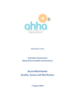 AHHA Submission to the Rural Allied Health Quality Access and Distribution discussion paper