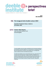 Perspectives Brief No. 6: The inaugural John Deeble Lecture 2019