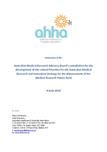 Priorities for the Medical Research Future Fund - AHHA submission to the Australian Medical Research Advisory Board