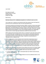AHHA Letter to ALP re Proposed Productivity Commission Inquiry Into Private Health