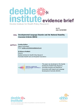 Deeble Evidence Brief No. 21: Developmental Language Disorder and the NDIS