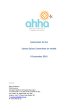 AHHA submission to Senate Select Committee on Health on big data and the use of integrated health data to inform decision making