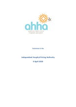 AHHA Submission to the Independent Hospital Pricing Authority (IHPA) on the Draft IHPA Work Program 2020–21
