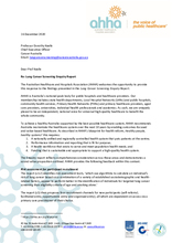 AHHA Response to Lung Cancer Screening Enquiry Report