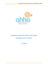 AHHA Submission to Productivity Commission Inquiry on Competition and Human Services