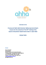 AHHA Submission to the Finance and Public Administration References Committee's inquiry into the outcomes of the COAG meeting