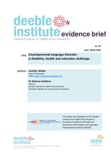 Evidence Brief No. 20 - Developmental Language Disorder: A disability, health and education challenge