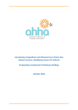 AHHA Submission to Productivity Commission Inquiry on Competition and Human Services preliminary report