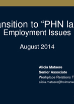 Transition to PHN Seminar: Employment Issues - Alicia Mataere, Holman Webb