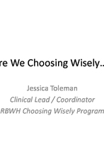 Jessica Toleman - RBWH Choosing Wisely