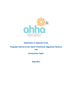 AHHA Submission in response to the Proposed reforms to the Health Practitioner Regulation National Law