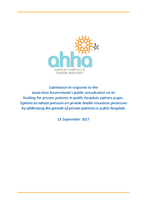 AHHA Submission to the Australian Government public consultation on funding for private patients in public hospitals options pap