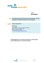 Deeble Institute Issues Brief No 10: The Road to Reducing Dementia Onset and Prevalence