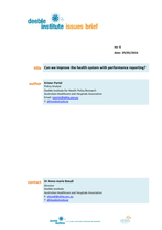 Issue Brief - Performance reporting