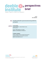 Deeble Perspectives Brief No. 10: Providing telehealth in general practice during COVID-19 and beyond