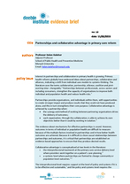 Evidence Brief: Partnerships and collaborative advantage in primary care reform