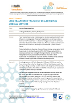 Lean Healthcare Training for Aboriginal Medical Services (AMS) and Aboriginal Community Controlled Health Services (ACCHO)