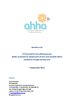 Primary Health: Submission to the Primary health care advisory group