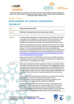 Development of clinical governance capability