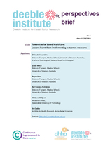 Deeble Perspectives Brief No. 5: Towards value based healthcare: Lessons learnt from implementing outcomes measures
