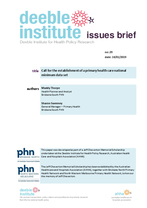 Deeble Issues Brief No. 29: Call for the establishment of a primary health care national minimum data set