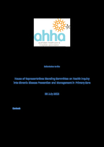 Submission House of Representatives Standing Committee on Health Inquiry into Chronic Disease Prevention and Management