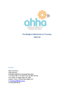 AHHA Pre-Budget Submission 2015-16
