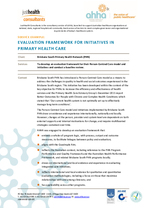 Evaluation framework for initiatives in primary health care