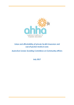 AHHA Submission to Australian Senate Standing Committee on Community Affairs inquiry on the value and affordability of private h