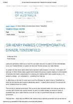 Prime Minister Tony Abbott's Sir Henry Parkes Commemorative Dinner Speech