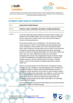 Climate and Health Strategy development - Sydney North Health Network